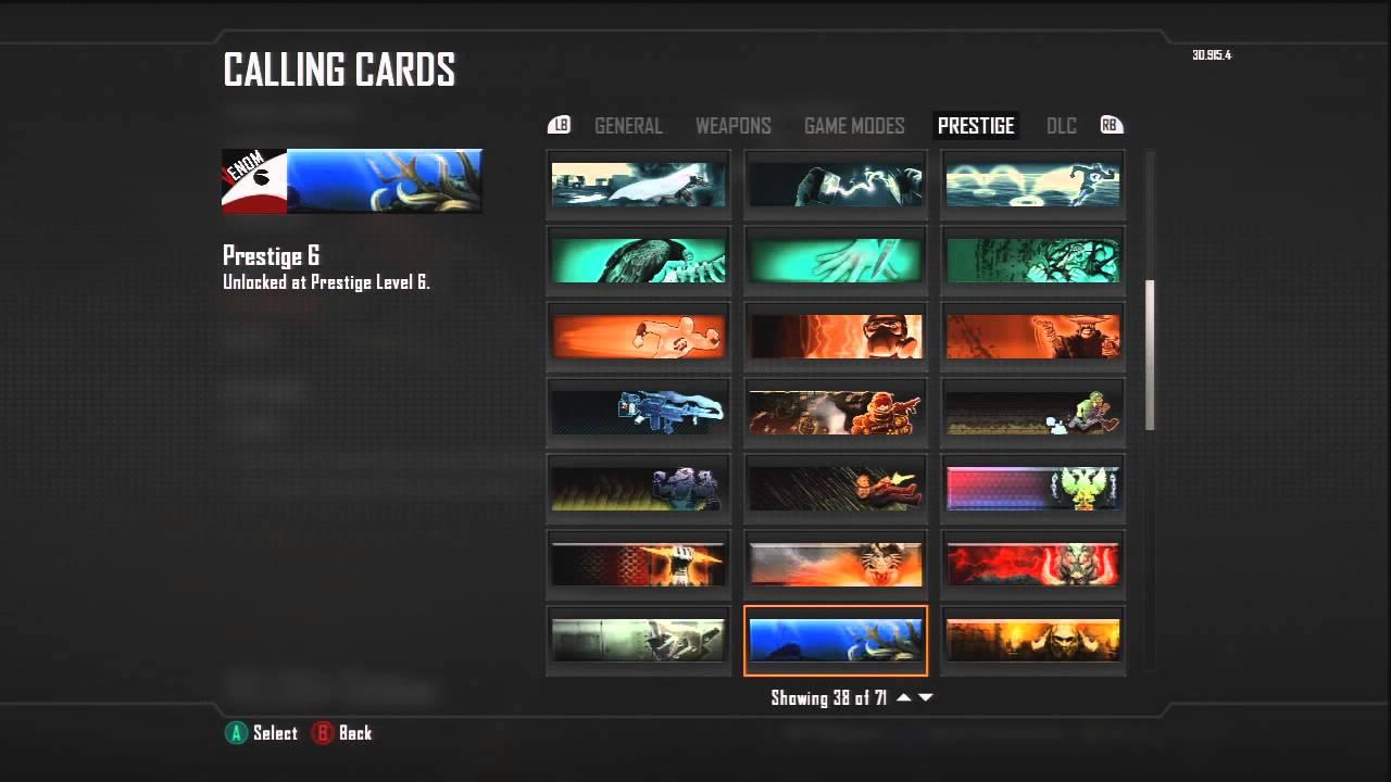 black ops 2 prestige calling cards all prestiges