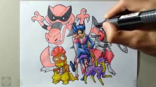 Elite Grimsley (Unova Pokemon League) - Speed Drawing | Labyrinth Draw