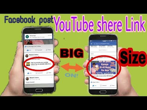 How to setup for youtube video link share facebook post big size