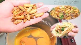Fried Bee Pupae with Egg (EXOTIC FOOD) || Street Food & ASMR