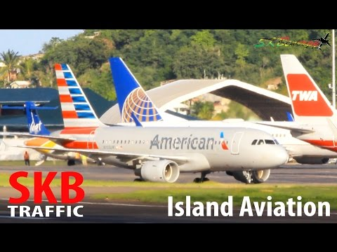 American Airlines A319 making its way into St. Kitts from Charlotte Douglas Intl Airport