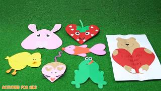 Making 7 extremely cute animals from hand-crafted heart-shaped pieces 5 | Activities For Kids #4