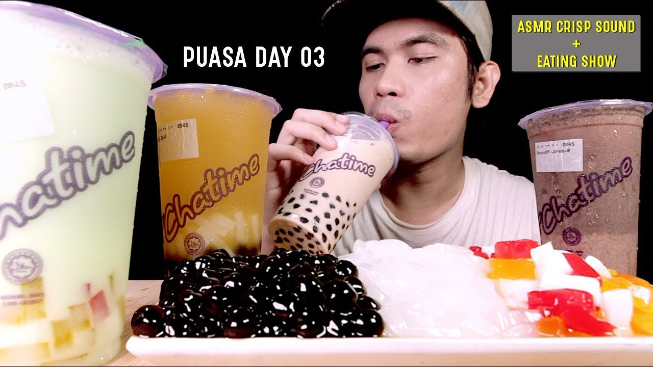 PUASA DAY 03: CHATIME BUBBLE TEA   Boba Jelly Gulp Chewy Sticky Sound   EATING SHOW W/ ASMR MALAYSIA