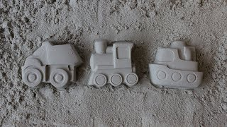 Play with car, train and ship sand molds - videos for toddlers