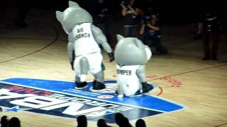 Funny dancing Chomper and Air Crunch from NBA Team Minnesota Timberwolves