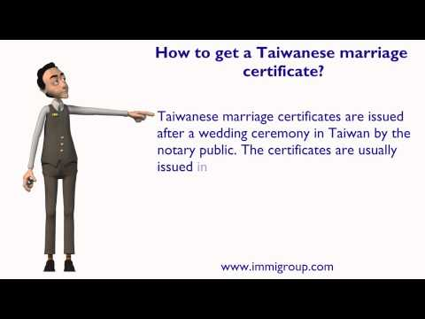 How to get a Taiwanese marriage certificate?