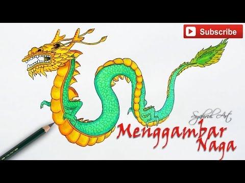 Menggambar Naga Dengan Pensil Dan Warna Syahrul Art