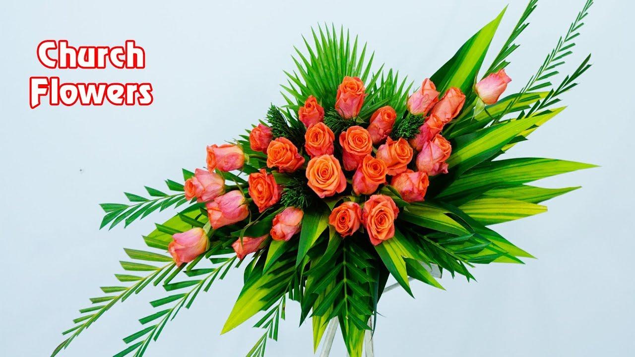 Diy Floral Arrangements For Church Orange Rose Basic Flower Eps 24 Youtube