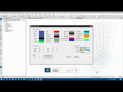 How to change Etabs Background & and Building Components Color 2016(similar 2015,)