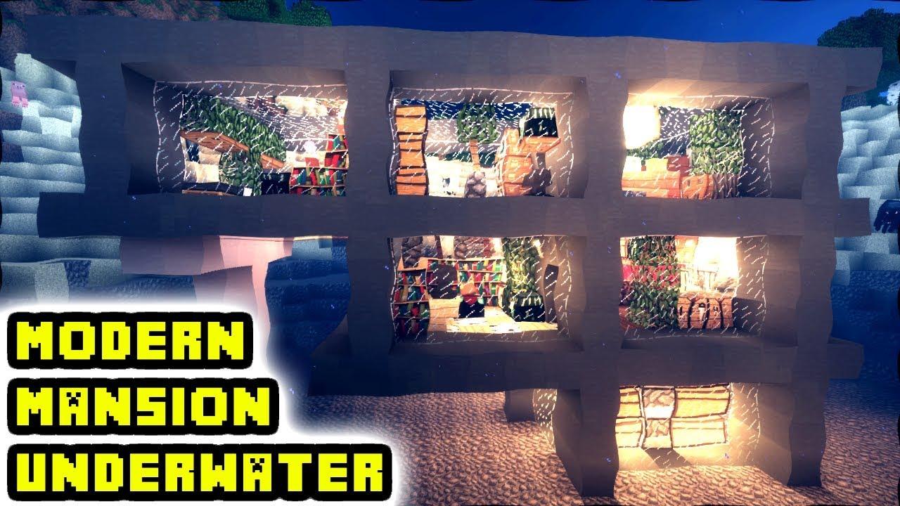 Minecraft Underwater Modern Mansion Tutorial How To Build Underwater House Ideas Youtube