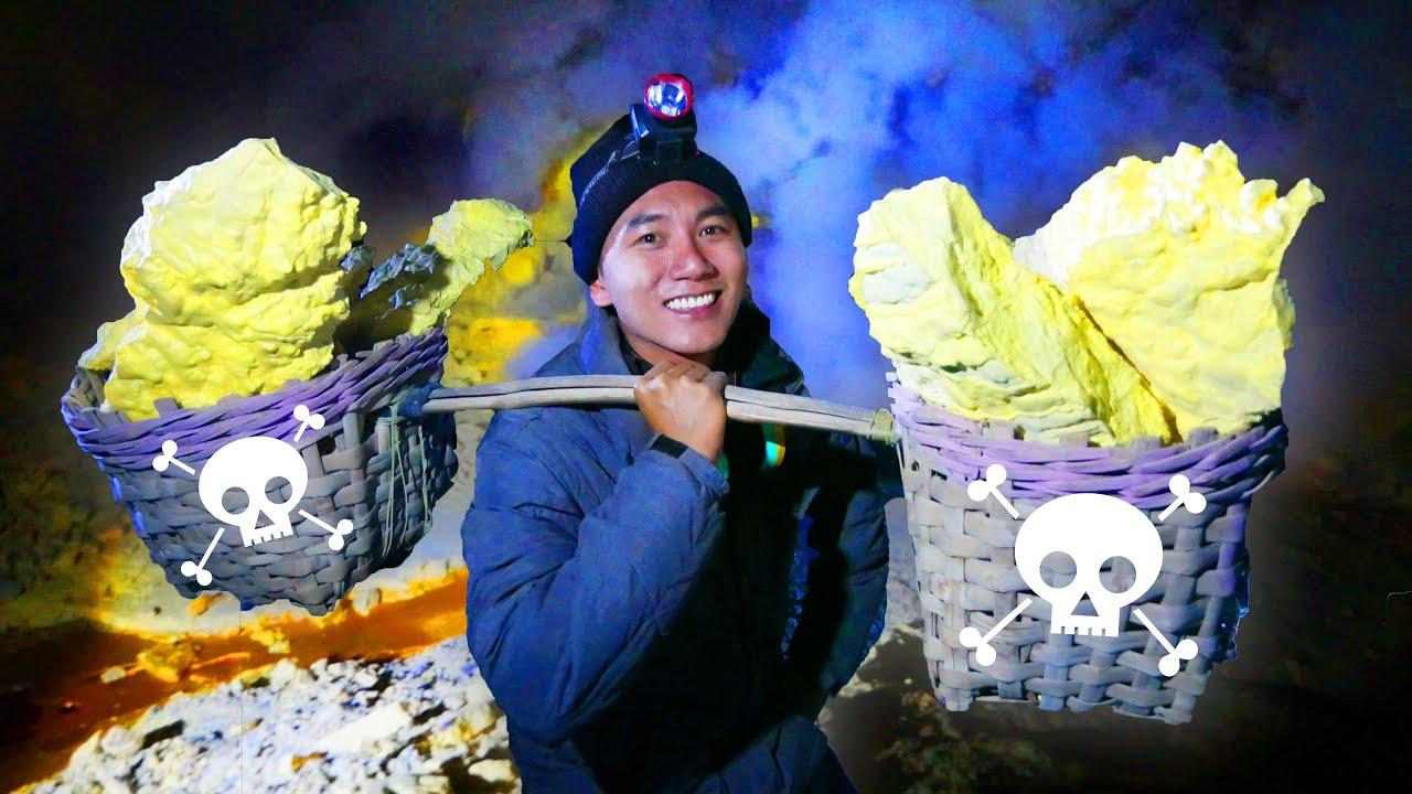 Khai thác lưu huỳnh trong lòng núi lửa |Du lịch ẩm thực Bali Indo #8