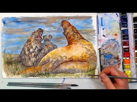 LIVE! All About Watercolor Mediums & Coastal Seal Painting!