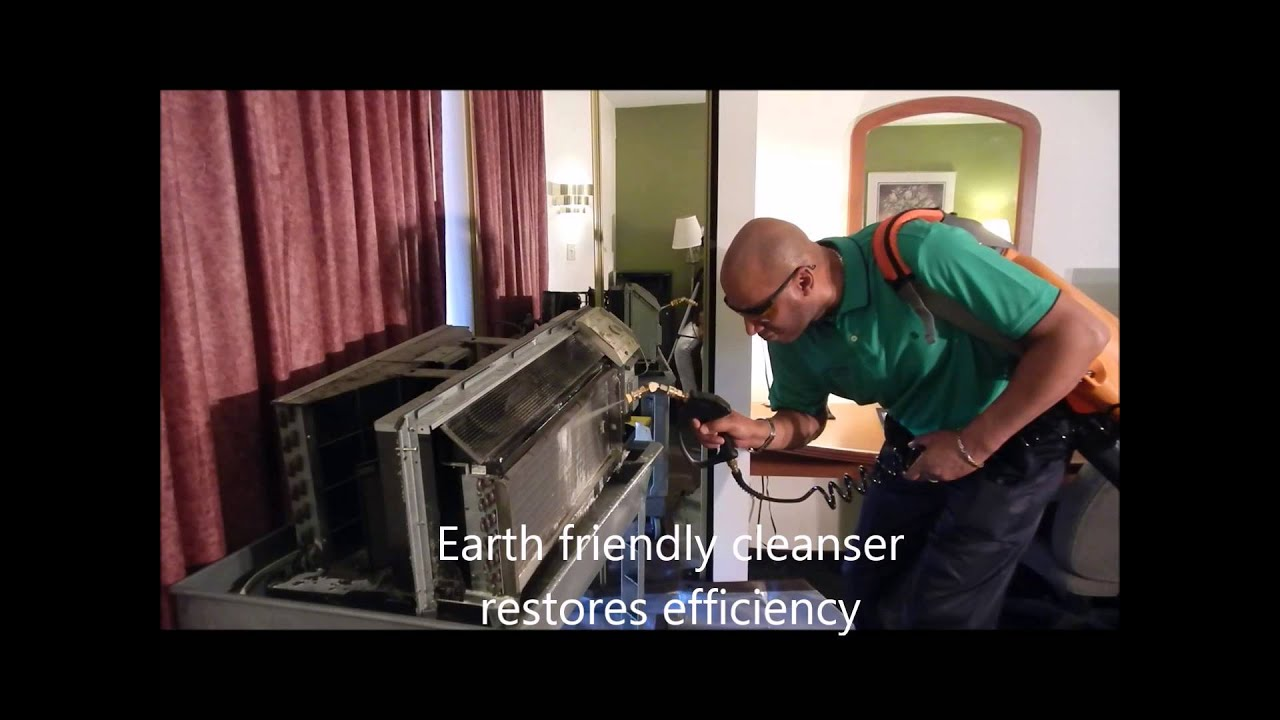 How do you clean the exterior of a PTAC air conditioner?