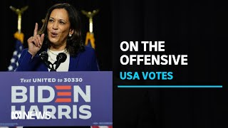 Kamala Harris and Joe Biden use first campaign event to attack Donald Trump | ABC News