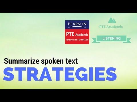 PTE academic Summarize spoken text strategies