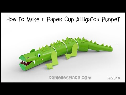 Alligator Puppet Made From Cups