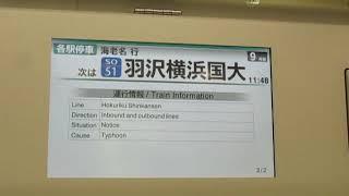 埼京線E233系武蔵小杉駅発車後車内放送【各駅停車海老名行】