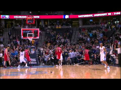 Arron Afflalo with the buzzer beater to send game into overtime! (Rockets - Nuggets 12/18/14)
