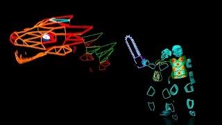 Неоновый спектакль в светящихся костюмах ISMEN дракон