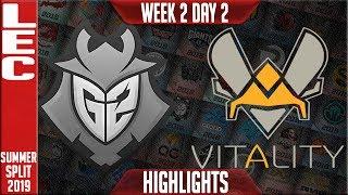 G2 vs VIT Highlights | LEC Summer 2019 Week 2 Day 2 | G2 Esports vs Vitality