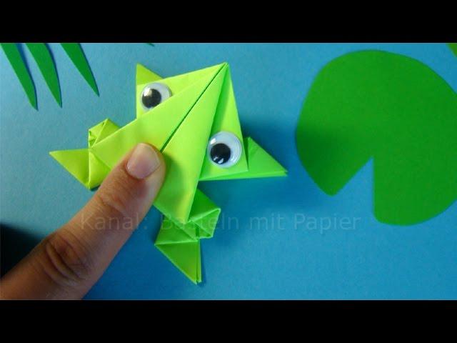 h pfenden origami frosch falten springenden frosch basteln mit papier tiere basteln mit. Black Bedroom Furniture Sets. Home Design Ideas