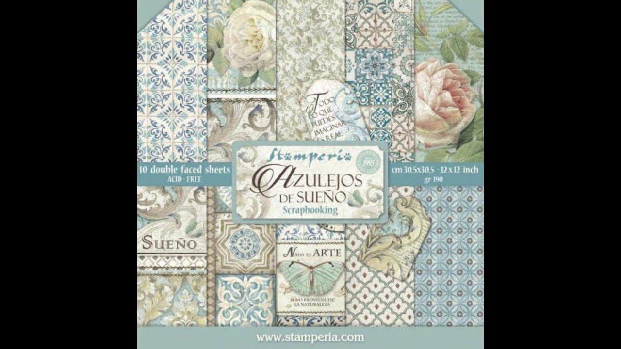 "NEW Stamperia 8/"" x 8/"" Paper Sheets Azulejos De Sueno"