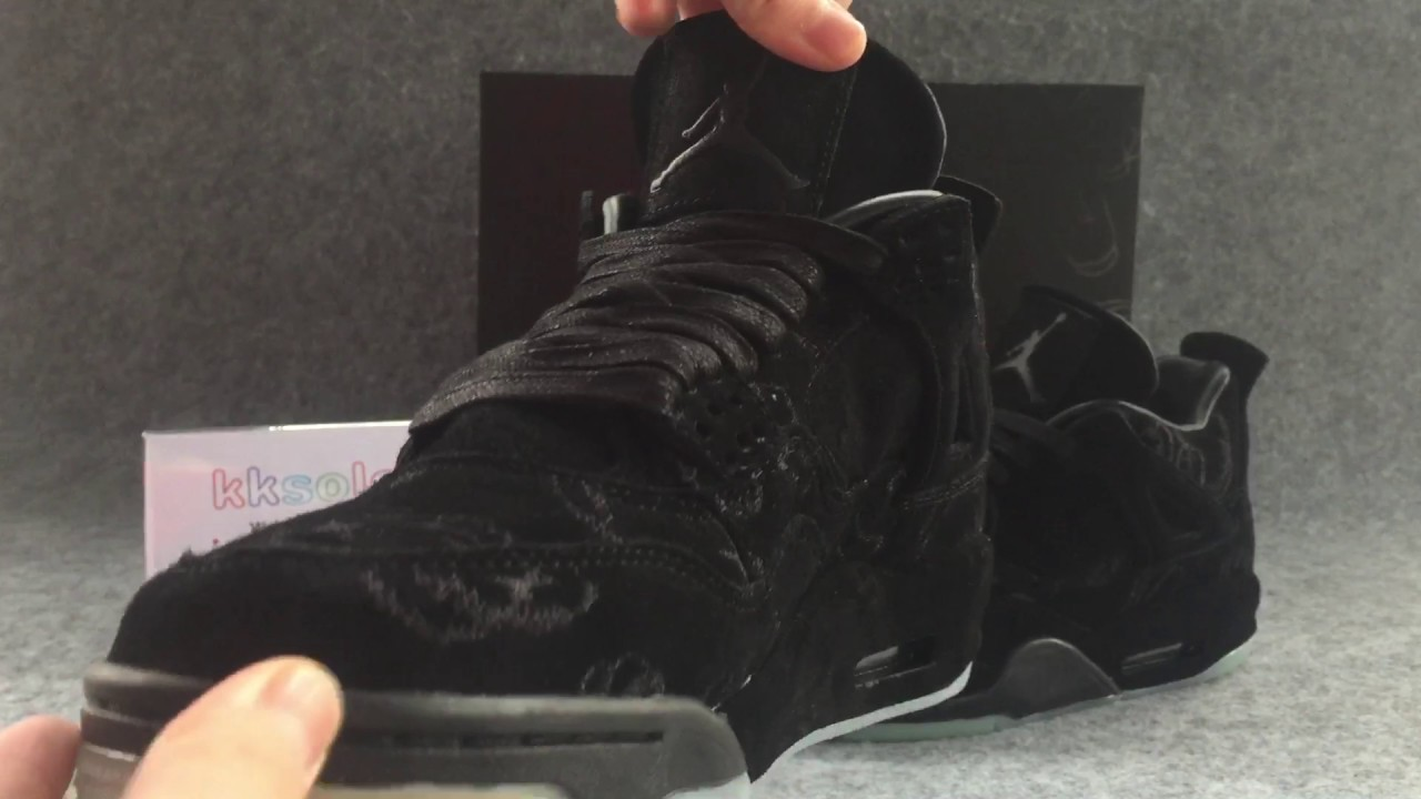 21ca822a00fdef KAWS x Air Jordan 4 Retro Black Suede (kksole.cn) - YouTube