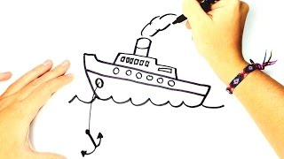 Cómo dibujar un Barco paso a paso para niños | Dibujo fácil de un Barco