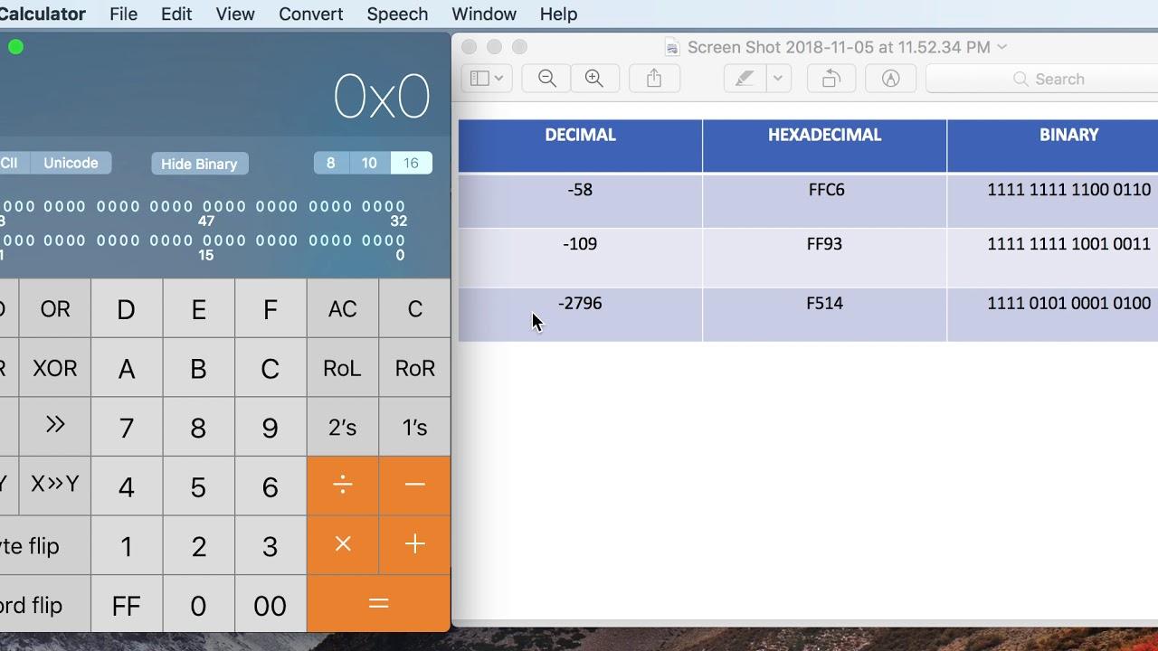 Mac Programmer Calculator - Negative Binary Decimal Hexadecimal Conversion  - How To Convert