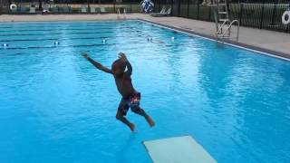 5 year old jumping into deep water.