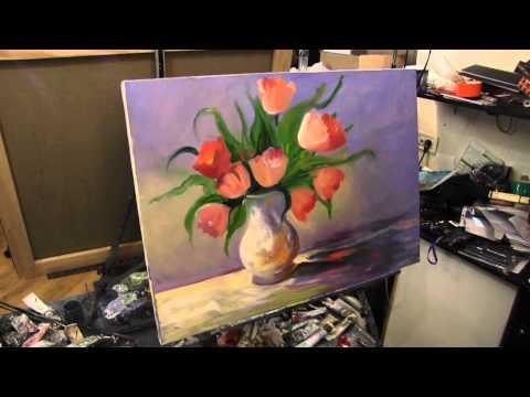 Научиться рисовать цветы в вазе, Сахаров, тюльпаны маслом на холсте