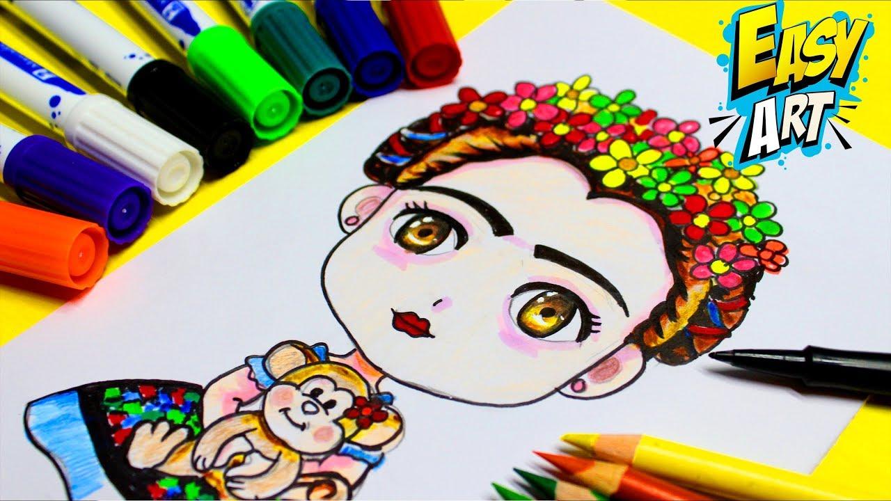 Frida Kahlo Dibujo Animado Para Colorear: Como Dibujar A Frida Kahlo Kawaii Dibujo Fácil Para Niños