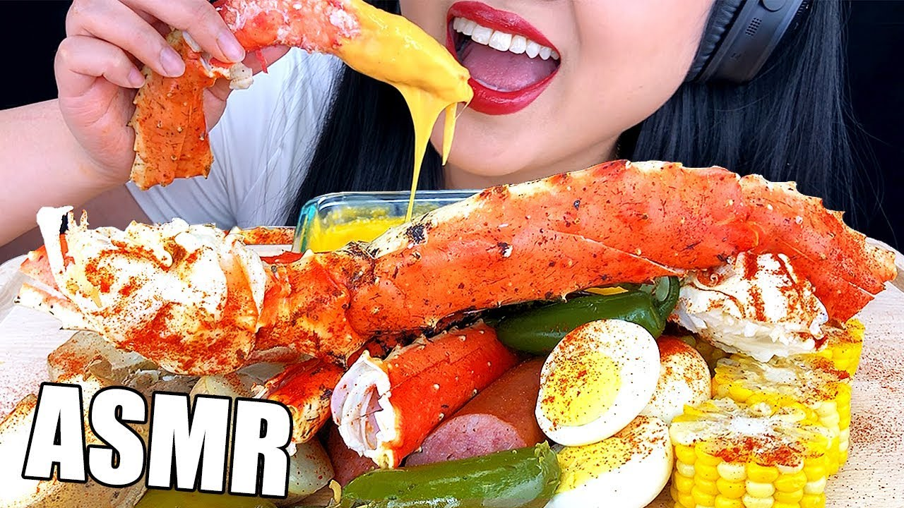 ASMR KING CRAB + CHEESY SAUCE SEAFOOD BOIL MUKBANG *MESSY EATING* 치즈 먹방 (Eating Sounds) | ASMR Phan