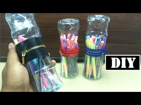 diy-pen-holder---zip-up-storage- -easy-recycled-plastic-bottle-crafts