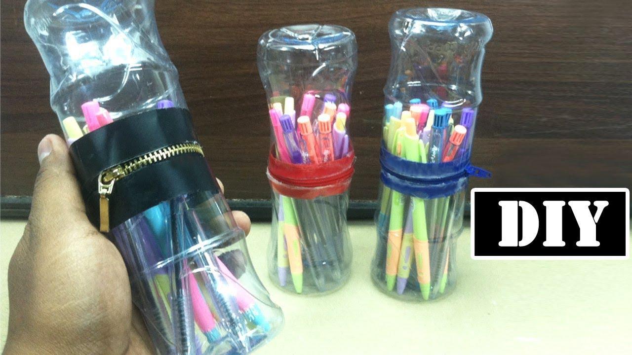 Diy Pen Holder Zip Up Storage Easy Recycled Plastic Bottle