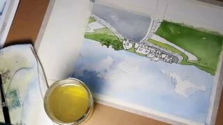 Watercolor scene, Ireland