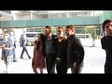 Richard Linklater, Ethan Hawke, Ellar Coltrane, Lorelei Linklater posing at Boyhood Premiere