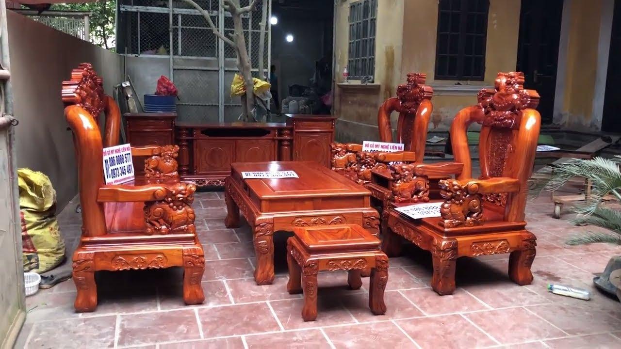 Bộ bàn ghế minh nghê hương đá đỏ 6 món tay 12 | Đồ gỗ mỹ nghệ Bảo Lộc