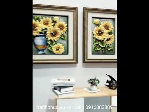 Tranh hoa hướng dương treo phòng khách – tranh ghép hoa hướng dương – Sen Đỏ decor – zalo 0916883889