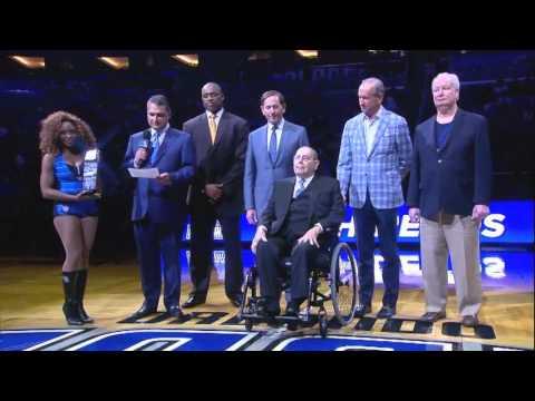 Orlando Magic celebrate Rich DeVos before game against Nets