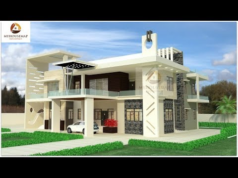white indian bungalow home design glass balcony gray stone ...