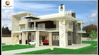 White Indian Bungalow Home Design Glass Balcony Gray Stone Cladding | House Design Trends Latest