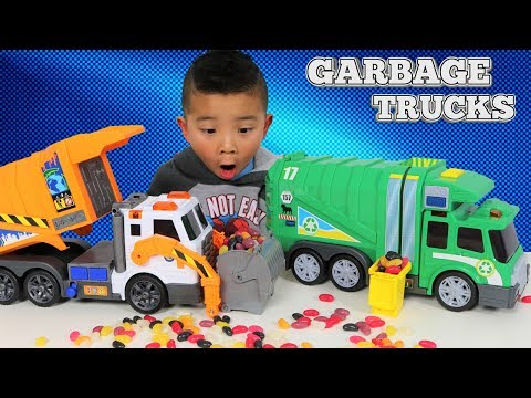 Garbage Trucks Toys Unboxing And Playing With Jelly Beans Ck