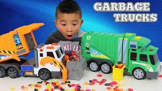Garbage Trucks Toys Unboxing And Playing With Jelly Beans Ckn