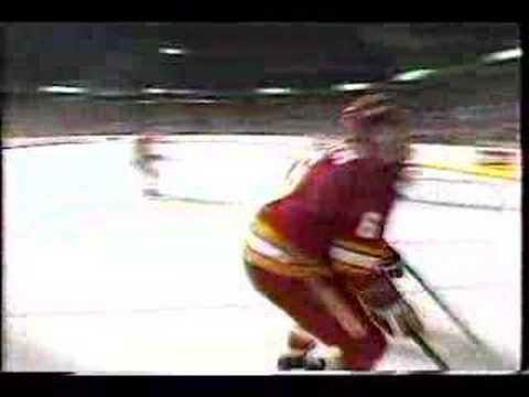 Canucks vs Flames : Mike Vernon is Elbowed - April 13, 1989