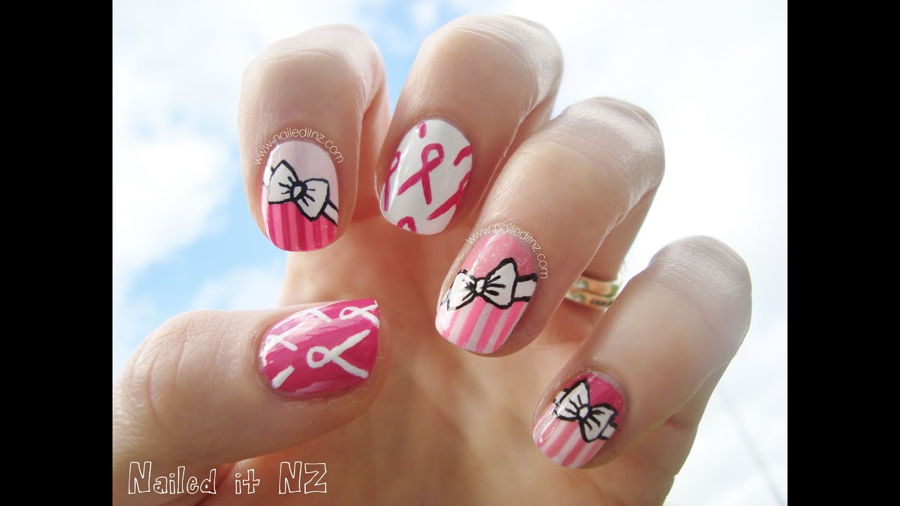 Breast Cancer Awareness month ♥ Pink Nail Art With Ribbons and Bows ...