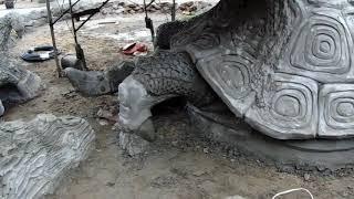 обзор  работ    арт  бетон изготовление  скульптуры  черепахи..