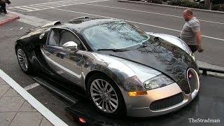 $1.5 Million near crash! Chrome/Carbon Fiber Bugatti Veyron supercar almost falls off flatbed!