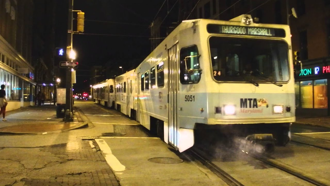 MTA Maryland Light Rail BWI Airport Bound 2 Car ABB LRVs