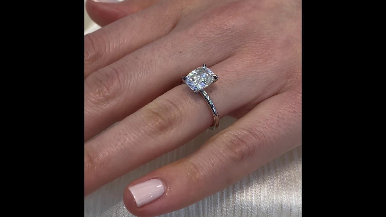 Elongated Cushion Cut Moissanite Pave Prong Engagement Ring